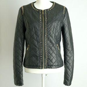 Forever 21 Spike Studded Black Faux Moto Jacket, L